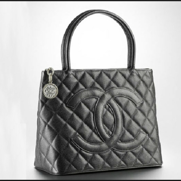 672e6836b582fb CHANEL Handbags - Chanel Black Quilted Caviar Medallion Tote